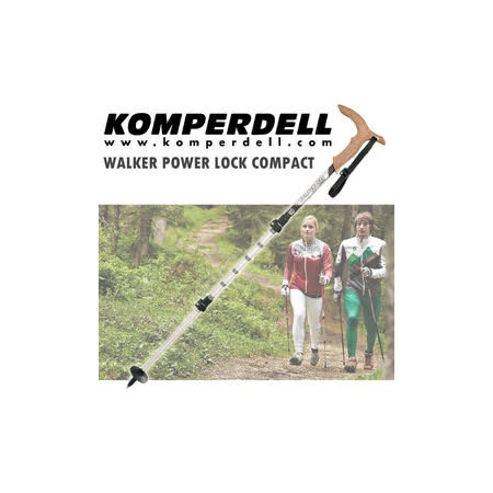 【KOMPERDELL奧地利】WALKER POWER LOCK COMPACT 強力鎖定.鋁合金T型把登山杖.健行手杖.散步拐杖 ._ 1762401-10