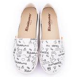 童鞋城堡-拉拉熊 女款 塗鴉印刷帆布休閒鞋KM82003-白