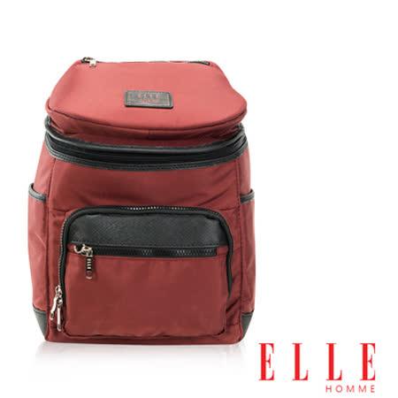 ELLE HOMME 法式精品機能休閒12吋筆電層 頭層皮直立體圓筒大容量後背包設計款 暗紅 EL83842-80