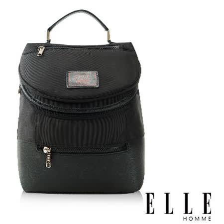ELLE HOMME 法式精品機能休閒12吋筆電層 頭層皮直立體圓筒大容量後背包設計款 黑 EL83468-02