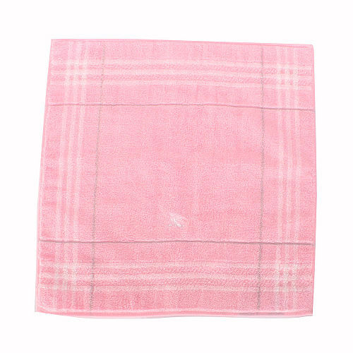 BURBERRY 亮粉紅色 條紋戰馬LOGO方巾