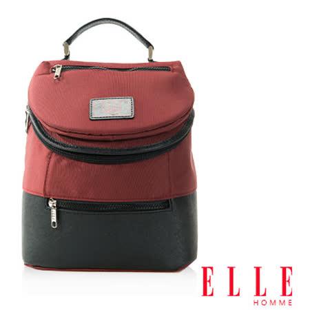 ELLE HOMME 法式精品機能休閒12吋筆電層 頭層皮直立體圓筒大容量後背包設計款 暗紅 EL83468-80