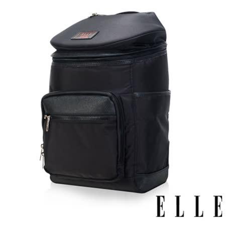 ELLE HOMME 法式精品休閒12吋筆電設計頭層皮直立體圓筒大容量後背包設計款-黑 EL83843-02