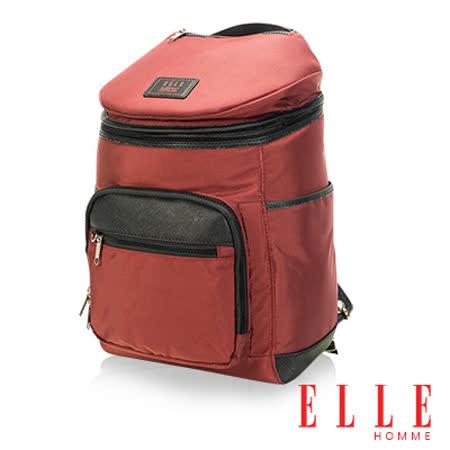 ELLE HOMME 法式精品休閒12吋筆電設計頭層皮直立體圓筒大容量後背包設計款-暗紅 EL83843-80