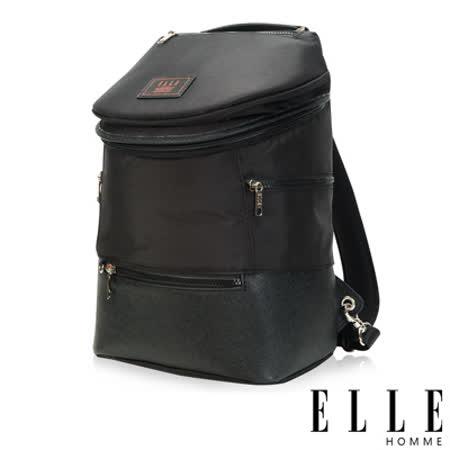 ELLE HOMME 法式精品休閒10吋筆電設計(小) 頭層皮直立體圓筒大容量後背包-黑 EL83845-02
