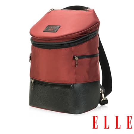ELLE HOMME 法式精品休閒10吋筆電設計(小) 頭層皮直立體圓筒大容量後背包-暗紅 EL83845-80