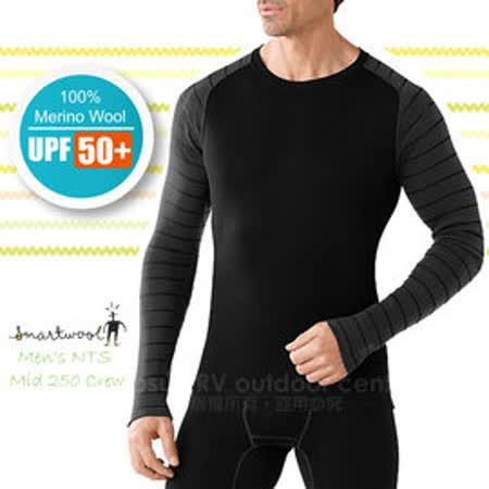 【美國 SmartWool 】男款 NTS Mid 250 Pattern Crew 美麗諾羊毛 保暖圓領上衣(UPF 50+)/長袖衛生衣.內衣/登山健行_ SS601 黑色/木炭
