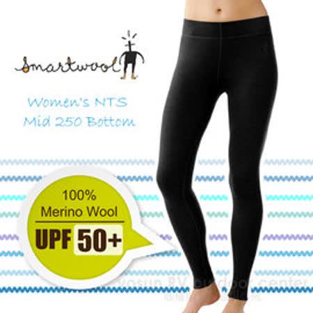 【美國 SmartWool 】女款 Women's NTS Mid 250 Bottom 美麗諾羊毛 保暖長褲(UPF 50+)/內搭褲.衛生褲.緊身褲/聰明羊.登山健行_ SS225 黑色