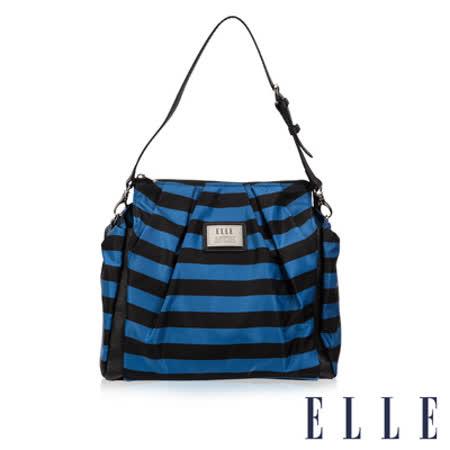 ELLE 法式優雅 海軍風 時尚後背/手提包款 IPAD扣層設計搭配質感頭層皮-藍黑 EL83837A-02