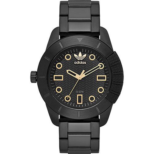 adidas Originals 左錶冠復刻經典腕錶-黑x金時標/42mm ADH3092