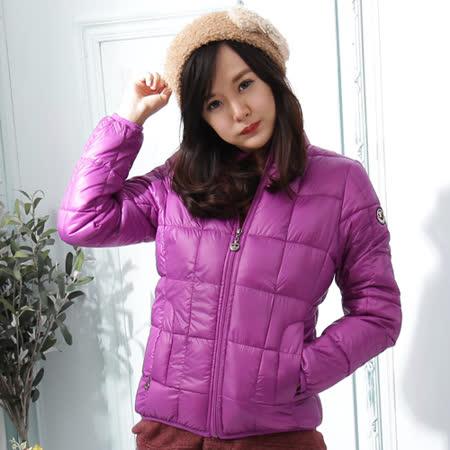 【Stoney.ax】新款韓版修身立領百搭方格款羽絨服棉衣外套-紫色