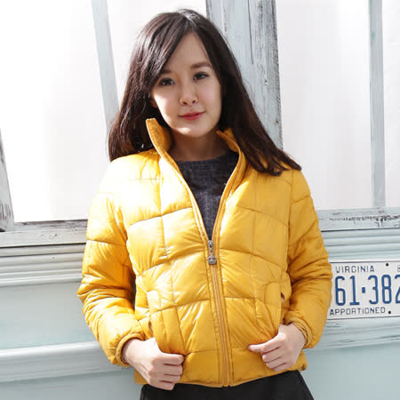 【Stoney.ax】新款韓版修身立領百搭方格款羽絨服棉衣外套-黃色
