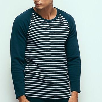 HENIS 時尚型男速暖絨彈性印花長袖保暖衫~2件組(隨機取色)