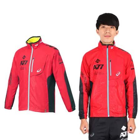 (男) ASICS A77保暖防風外套- 風衣 刷毛 立領 紅黑