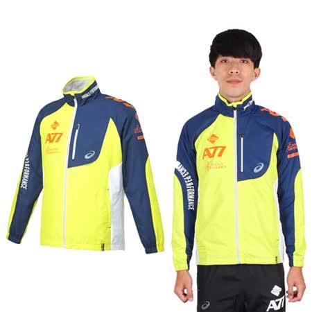 (男) ASICS A77保暖防風外套- 風衣 刷毛 立領 芥末黃橘丈青