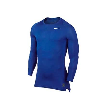 (男) NIKE PRO 長袖緊身衣-慢跑 路跑 重訓 健身 藍白