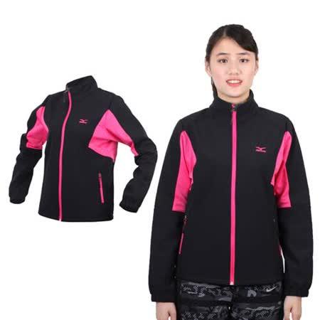 (女) MIZUNO 風衣外套 - 防風 刷毛 保暖 防潑水 立領  黑桃紅