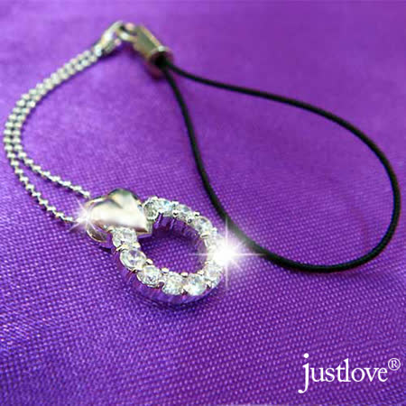 【justlove】甜心飛輪海晶鑽開運桃花感情贈情人包包女裝鑰匙圈手機吊飾掛飾(銀)MO-0022