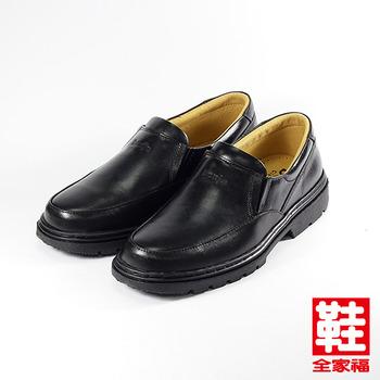 (男) BONJO 套式氣墊皮鞋 黑  鞋全家福