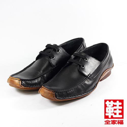 (男) Jason House 縫線綁帶休閒皮鞋 黑 鞋全家福