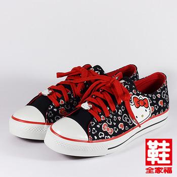 (女) Hello Kitty 蝴蝶結圖騰休閒帆布鞋  黑   鞋全家福