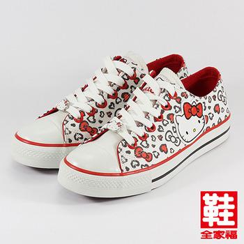 (女) Hello Kitty 蝴蝶結圖騰休閒帆布鞋  白   鞋全家福