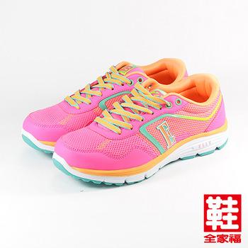 (女) ELLE 螢光輕量慢跑鞋 粉  鞋全家福