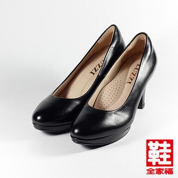 (女) LUZZI 羊皮防水台細跟高跟鞋 黑  鞋全家福