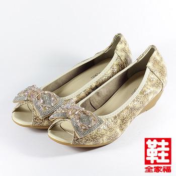 (女) Danbili 珠飾蝴蝶結魚口鞋 杏 鞋全家福