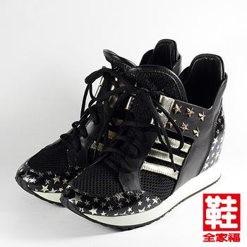 (女) SARAH PRINCESS 龐克鉚釘內增高休閒鞋 黑 鞋全家福