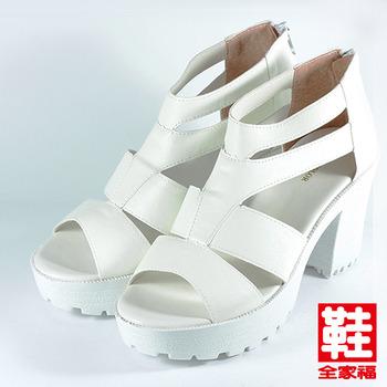 (女) YOUNG COLOR 復古寬版高跟羅馬鞋 白 鞋全家福