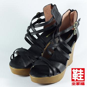 (女) YOUNG COLOR 交叉編織楔型羅馬鞋 黑 鞋全家福