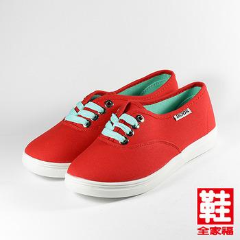 (女) DOOK 韓版簡約純色綁帶休閒鞋 紅  鞋全家福