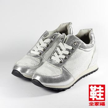 (女) DOOK 蕾絲內增高休閒鞋 白  鞋全家福