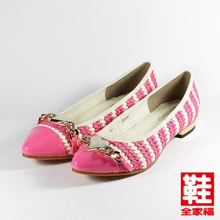 (女) CLASSIQUE GRECO 愛心條紋低跟淑女鞋 粉紅 鞋全家福