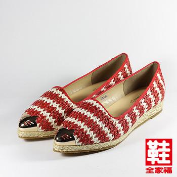 (女) CLASSIQUE GRECO 金屬頭亮片編織休閒鞋 紅 鞋全家福