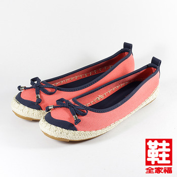 (女) YOUNG COLOR 蝴蝶結配色麻編休閒鞋 紅 鞋全家福