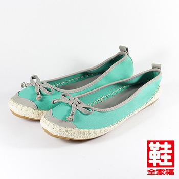 (女) YOUNG COLOR 蝴蝶結配色麻編休閒鞋 藍 鞋全家福