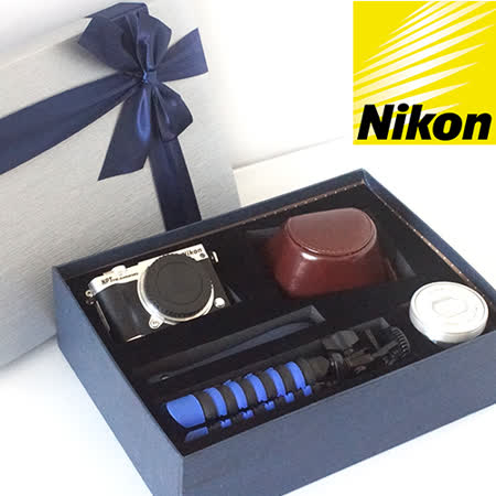 Nikon 1 J5 10-30 KIT 典藏禮盒 (公司貨) 64G記憶卡+副廠電池+專用兩件式復古皮套+皮質手腕帶+百變腳架+螢幕保護貼+典藏禮盒(含泡棉)