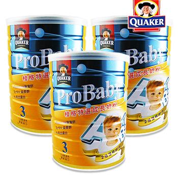 桂格 QUAKER 特選成長奶粉-新一代藻精蛋白配方1.5kg/罐x3入