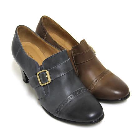 【GREEN PHOENIX 波兒德】復古樂章仿舊雕花金屬飾扣套入式臘感牛皮粗高跟牛津鞋