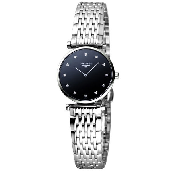 LONGINES 嘉嵐系列 12顆真鑽女錶-黑x銀/23mm L42094586