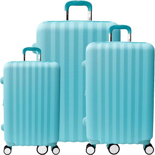 【YC Eason】尊爵頂級三件組ABS硬殼行李箱(20+24+2大 直 愛 買 美食8吋-地中海藍)