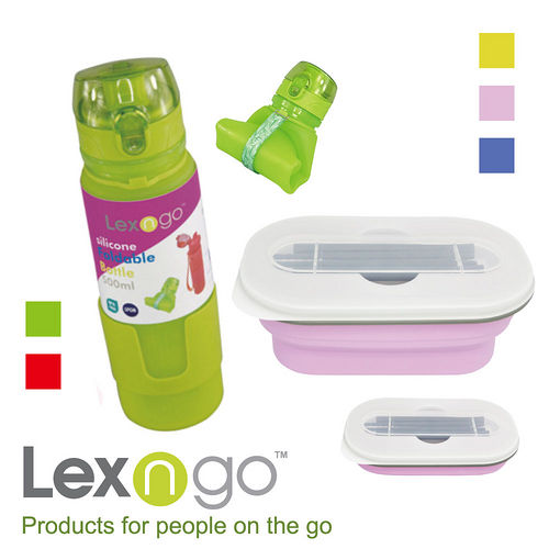 Lexngo  可折疊餐盒筷子組  可折疊瓶500ml