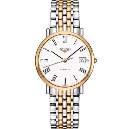 LONGINES Elegant Collection 羅馬機械腕錶-白x雙色版/37mm L48105117