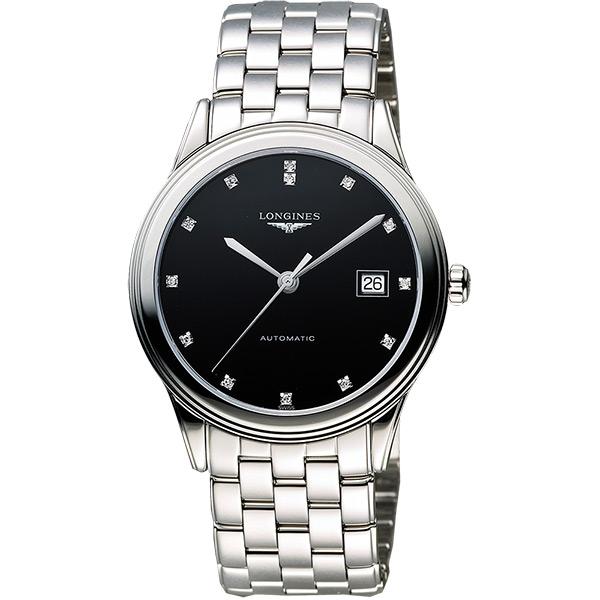 LONGINES Flagship 經典純粹真鑽機械腕錶-黑/38.5mm L48744576
