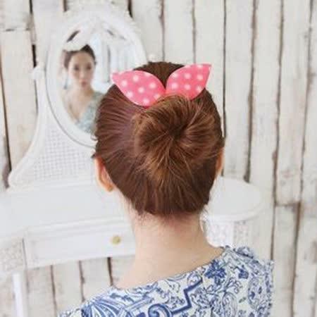 【PS Mall】韓國最新海綿寶寶 盤髮器髮飾圓點條紋碎花兔耳朵_2個 (H040)