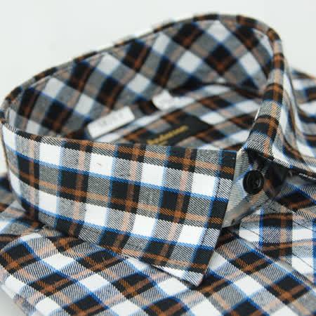 【金安德森】黑橘格紋保暖窄版長袖襯衫