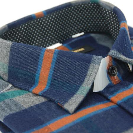 【金安德森】藍橘格紋特厚保暖窄版長袖襯衫