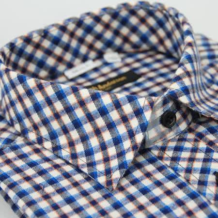 【金安德森】藍橘白格紋保暖窄版長袖襯衫